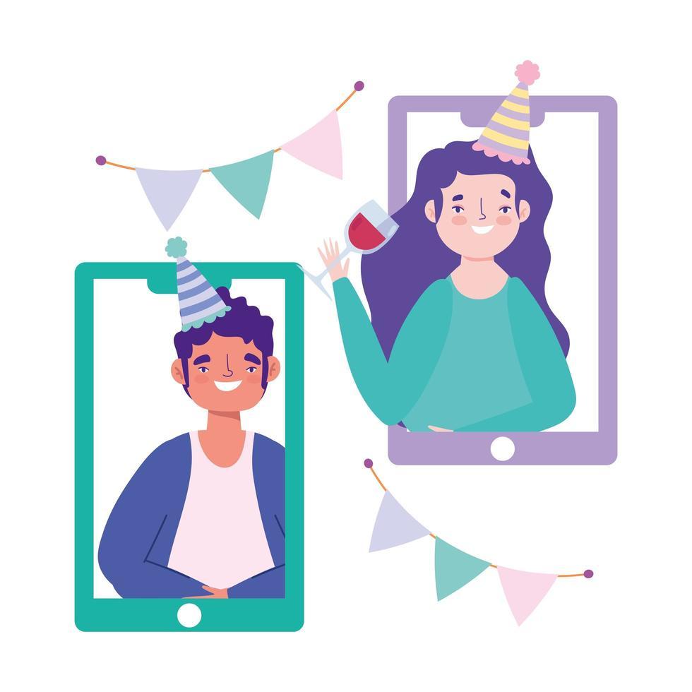 amigos en teléfonos inteligentes celebrando en línea vector