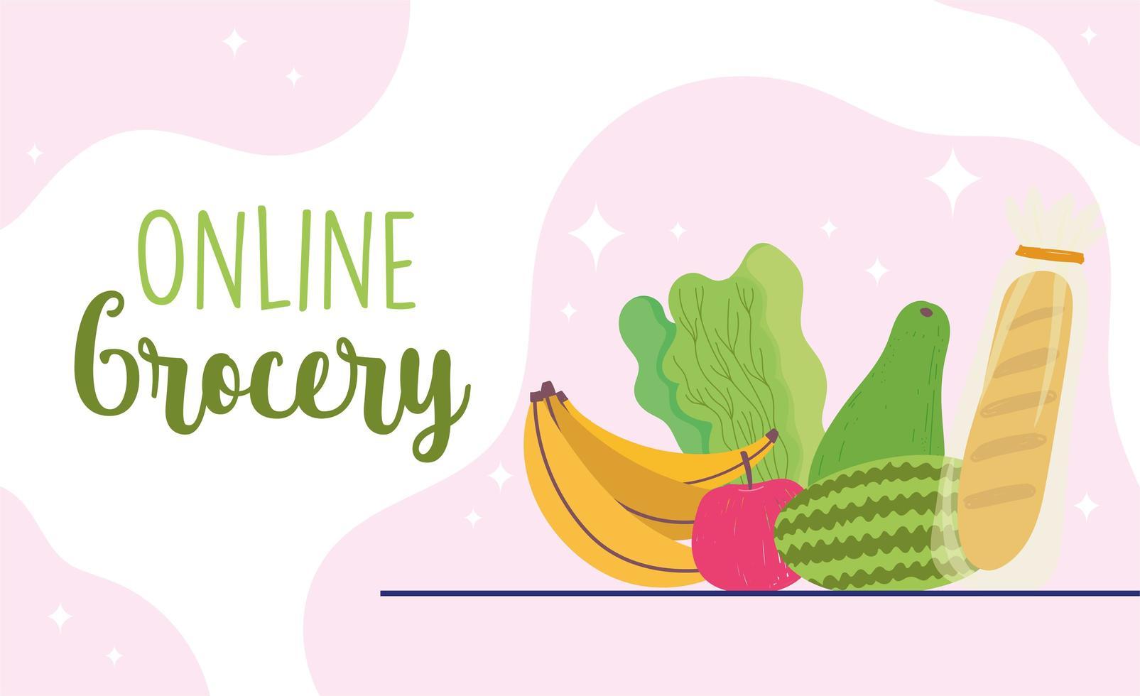 modelo de banner online de compras de supermercado com produtos vetor