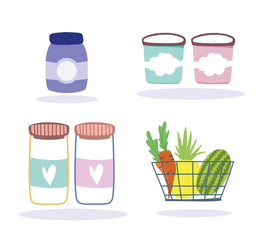Conjunto de iconos de productos de tienda de abarrotes vector