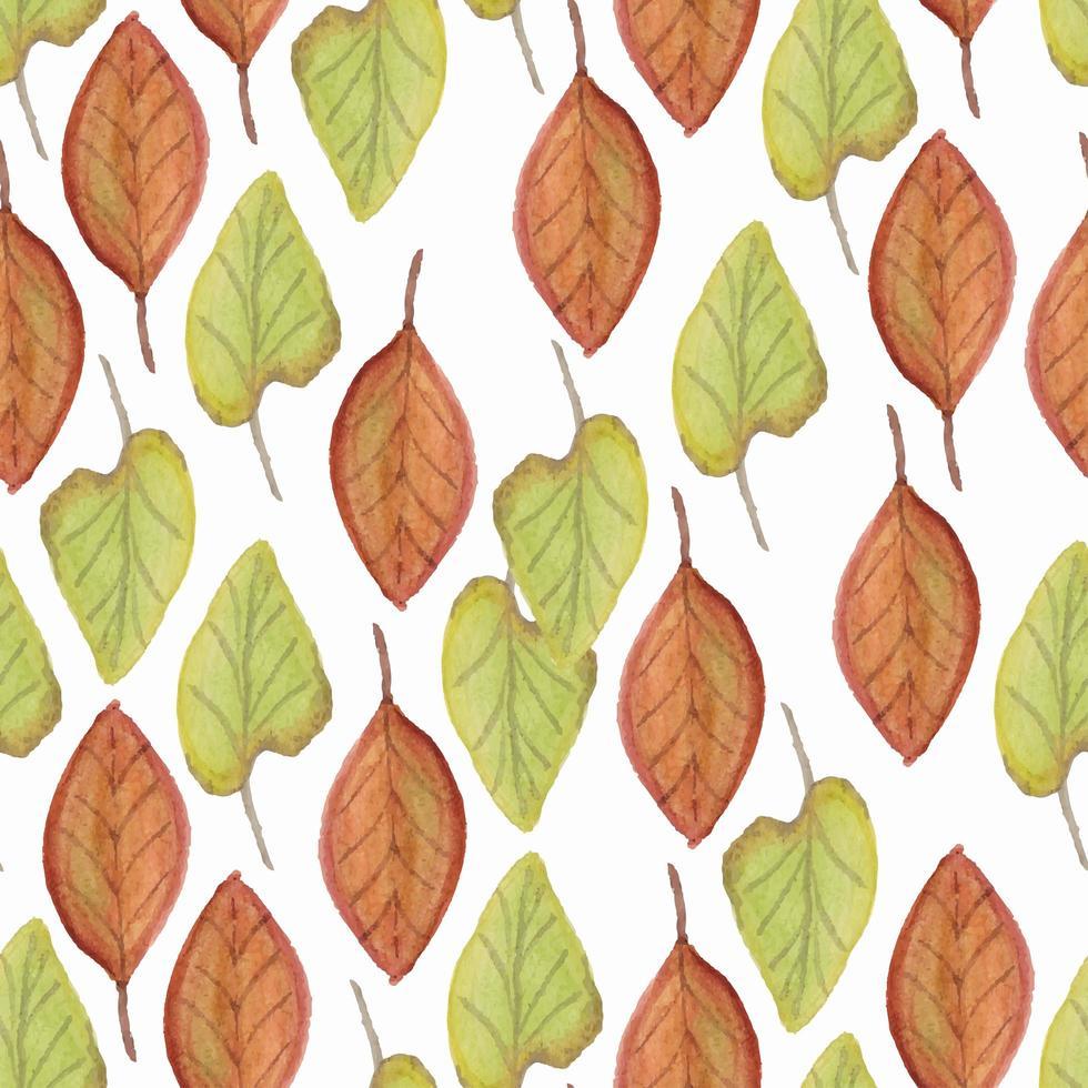 repetir o padrão com folhas em aquarela vetor