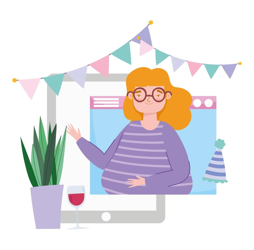 Woman on the tablet partying online vector