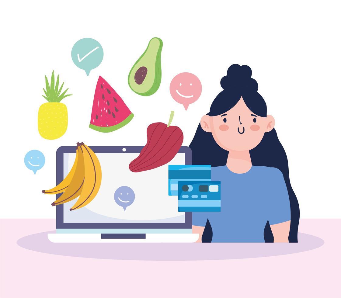mulher com laptop fazendo compras online vetor