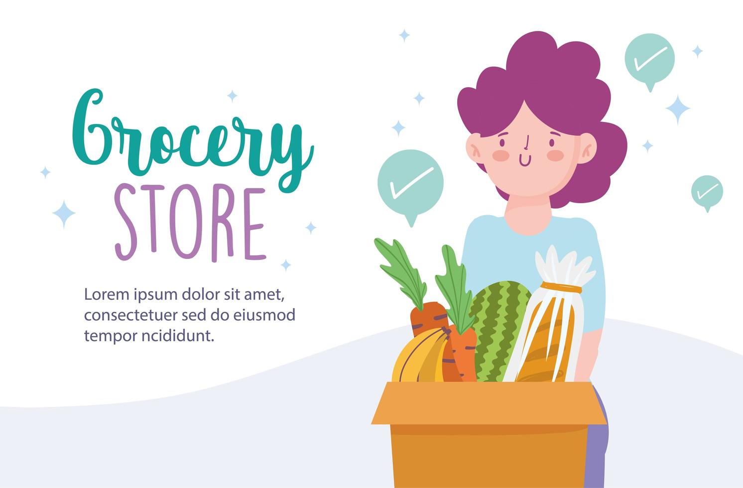 Grocery store online banner template with woman carrying groceries vector