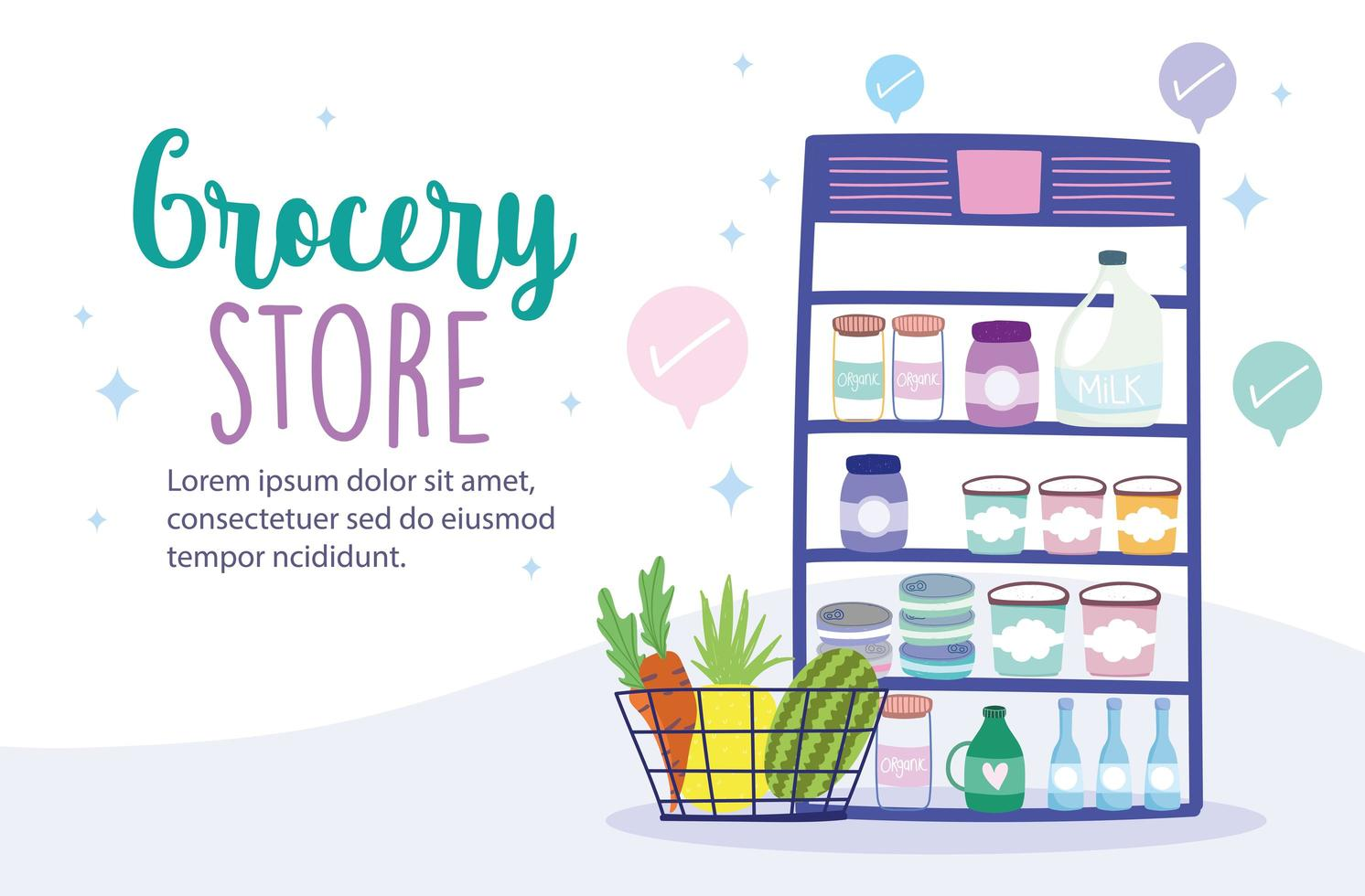 Grocery store online banner template vector