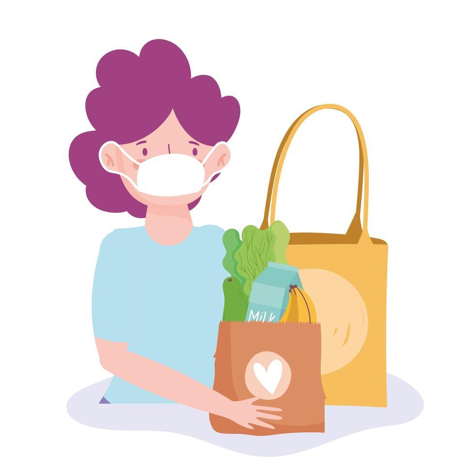 mulher usando uma máscara médica com uma sacola de mantimentos vetor