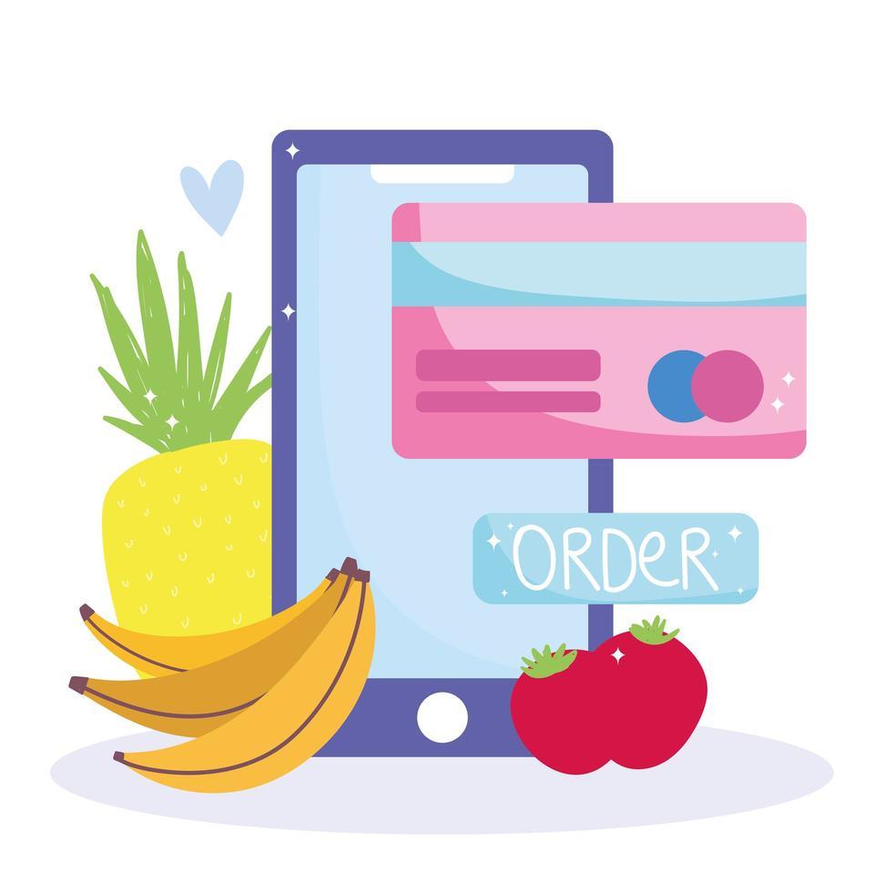 teléfono inteligente, tarjeta de crédito y frutas icono de pedido en línea vector