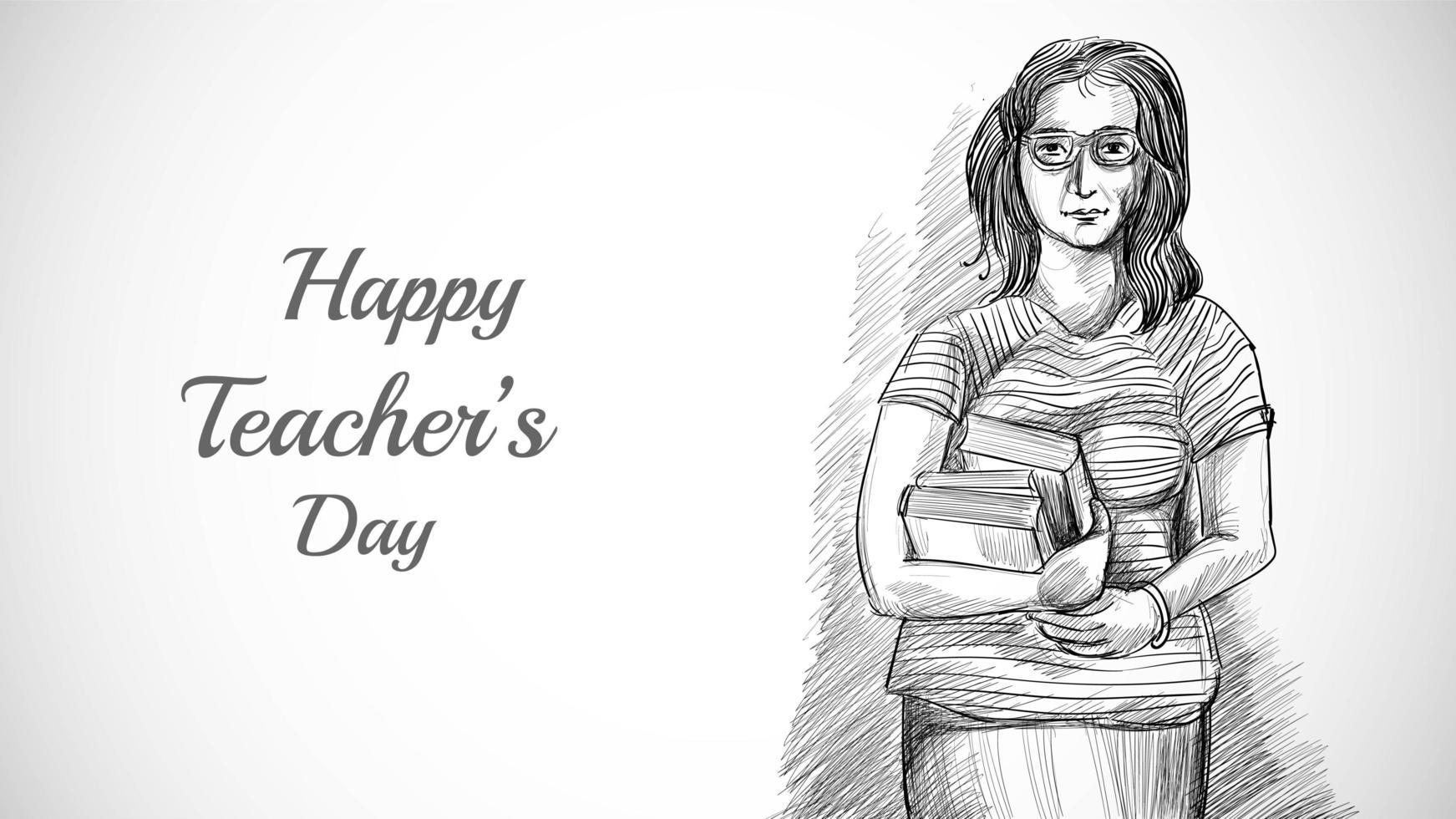 bosquejo de arte dibujado a mano bonita maestra con día del maestro vector