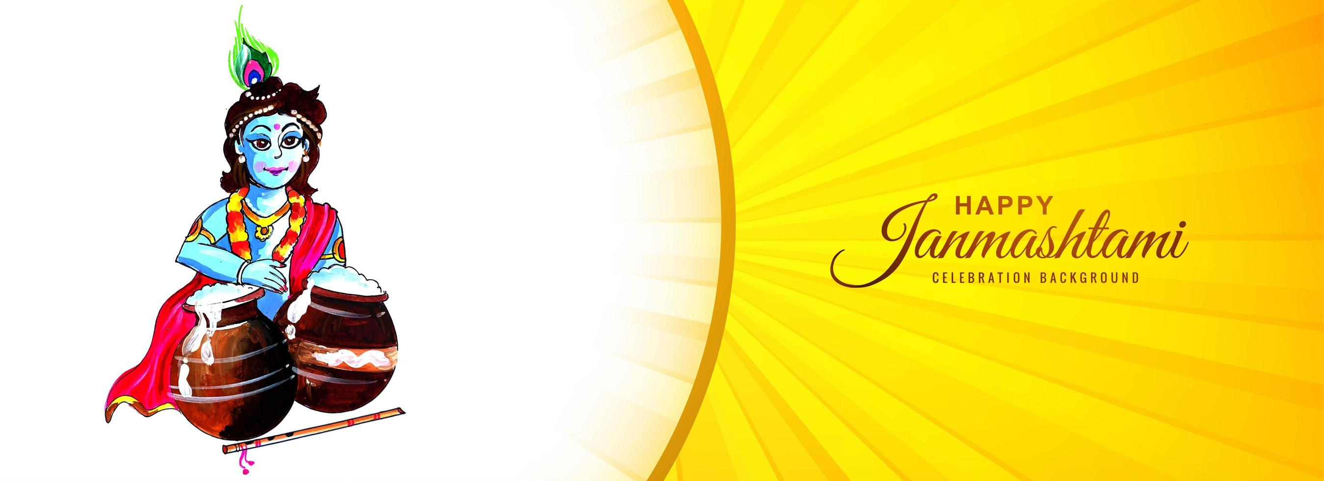 dahi handi krishna janmashtami banner amarillo sunburst vector