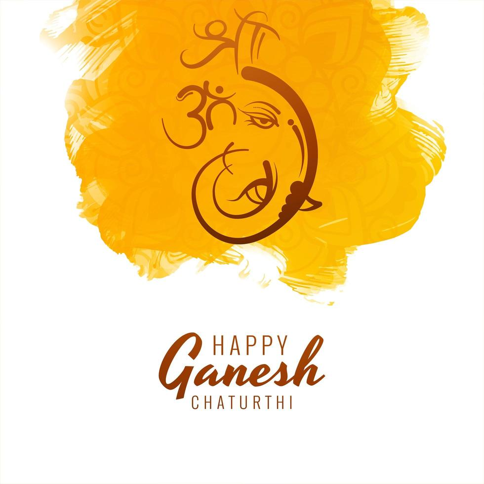 Happy Ganesh Chaturthi on Yellow Paint Strokes Background vector