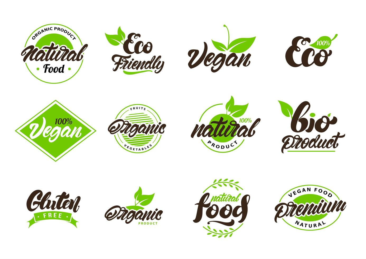 Collection of natural, eco labels and logos vector
