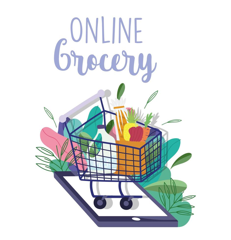 Online grocery of a shopping cart with a smartphone and foliage vector