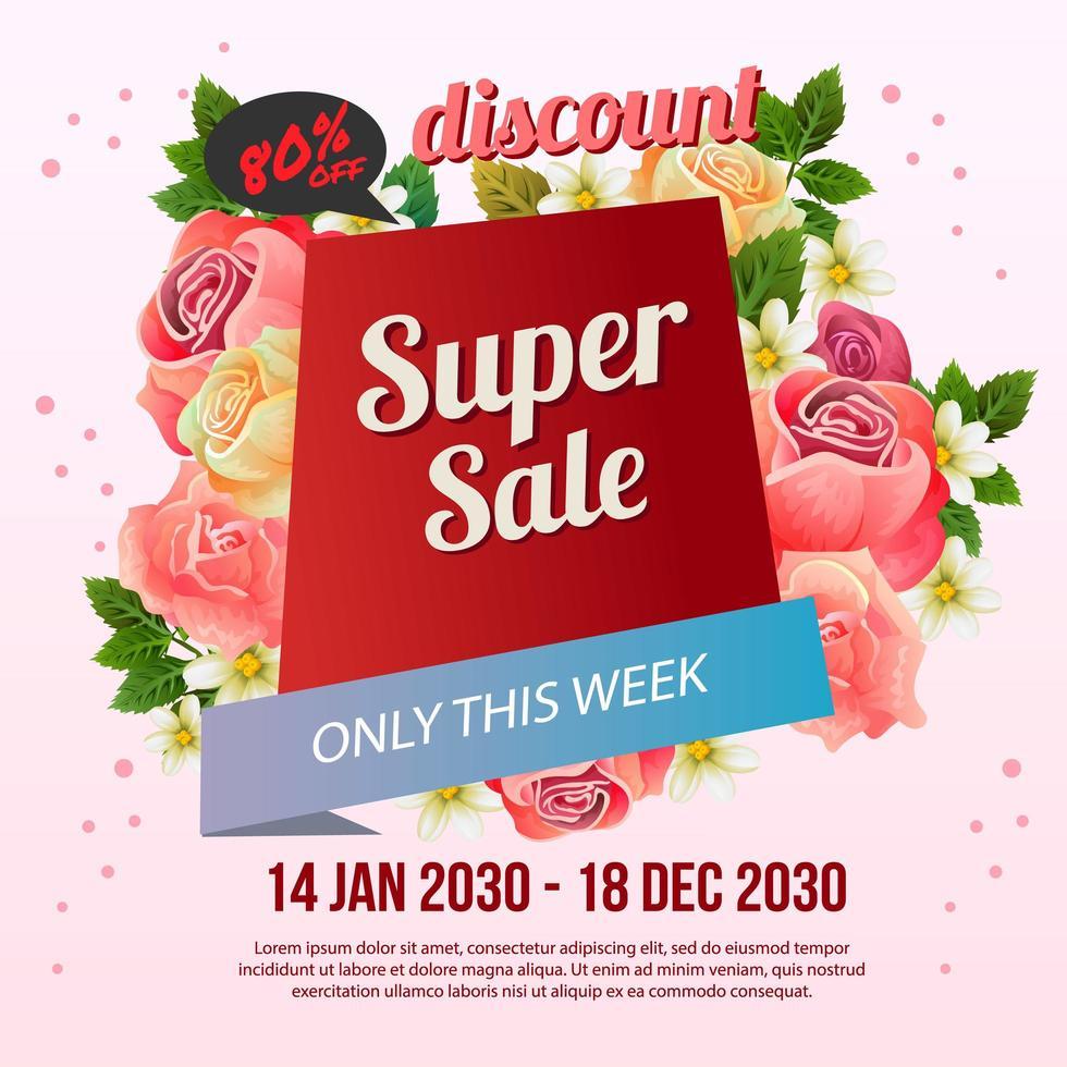 Flourish rose sale poster template vector