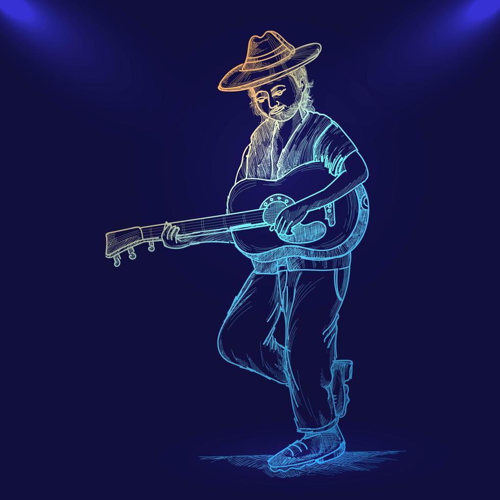 esboço de néon desenhado à mão para homem guitarrista fundo azul vetor