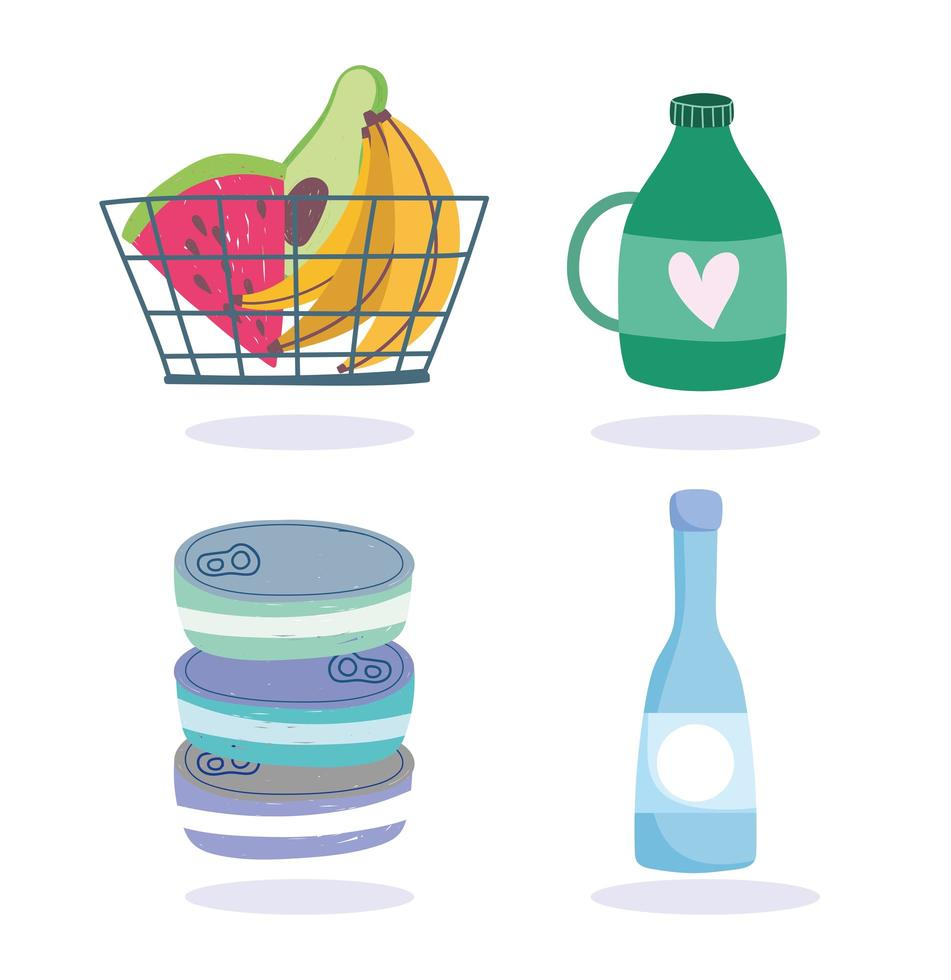 Grocery store products icon pack vector