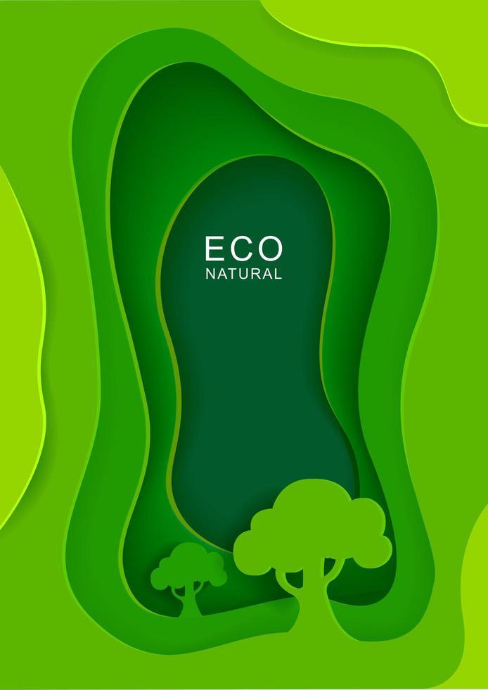 fondo verde con árboles en estilo de corte de papel vector