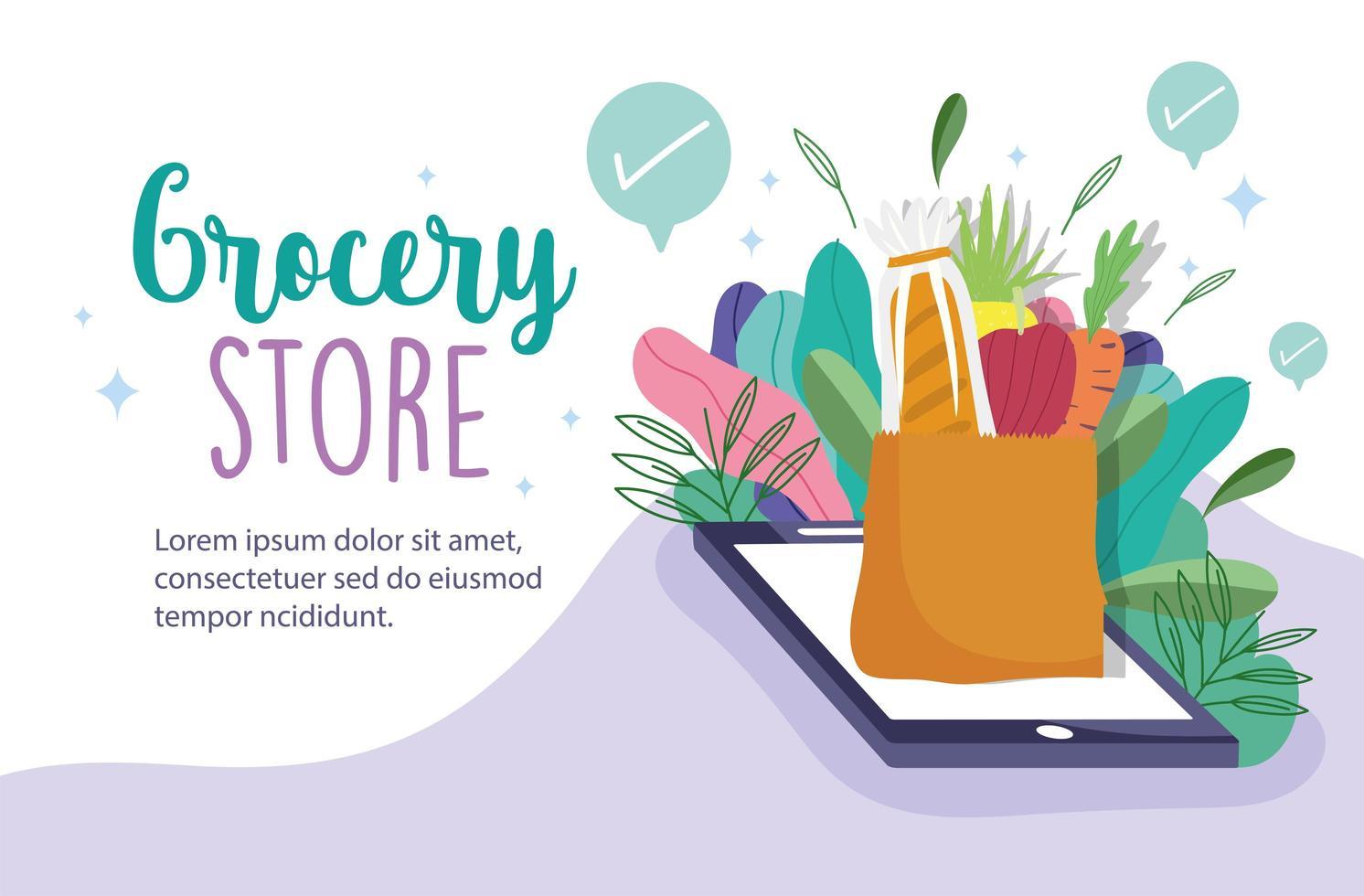 Plantilla de banner en línea de tienda de abarrotes con teléfono, comestibles y elementos de follaje vector