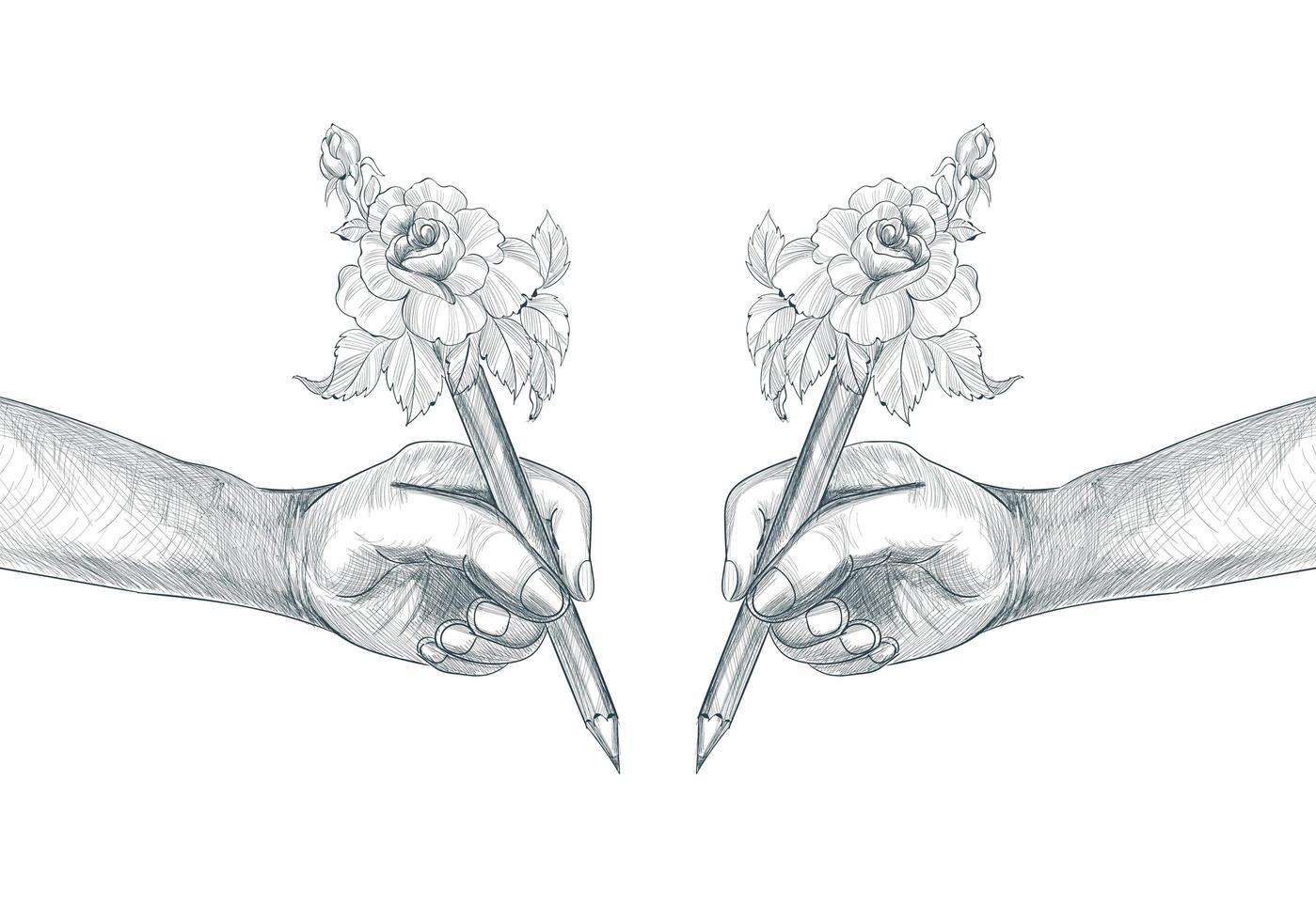 feliz día del maestro concepto estudiante mano sujetando lápiz dibujo de arte vector