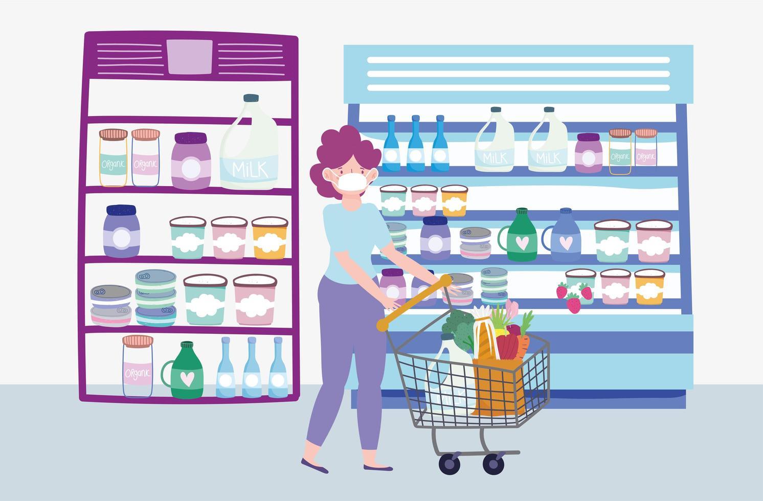 Mujer empujando un carrito de compras en una tienda de comestibles vector