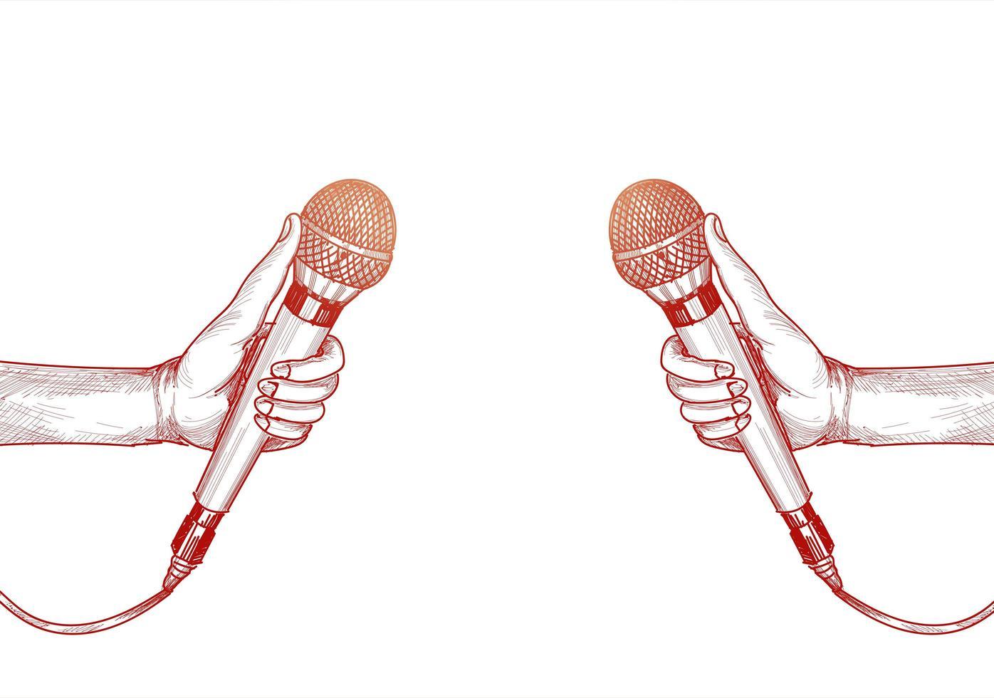 mão com microfone vermelho desenho fundo branco vetor