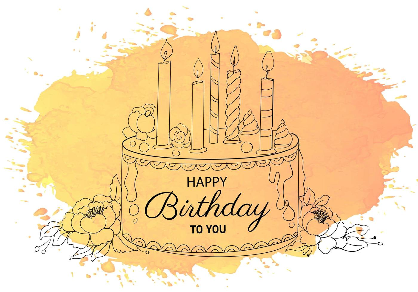 Happy Birthday Decorative Cake with Candles Sketch vector