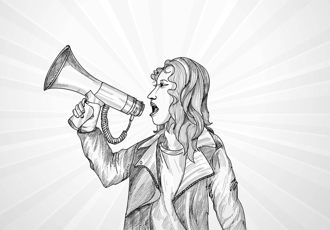 Sketch of Woman Holding Megaphone on White, Gray Rays vector
