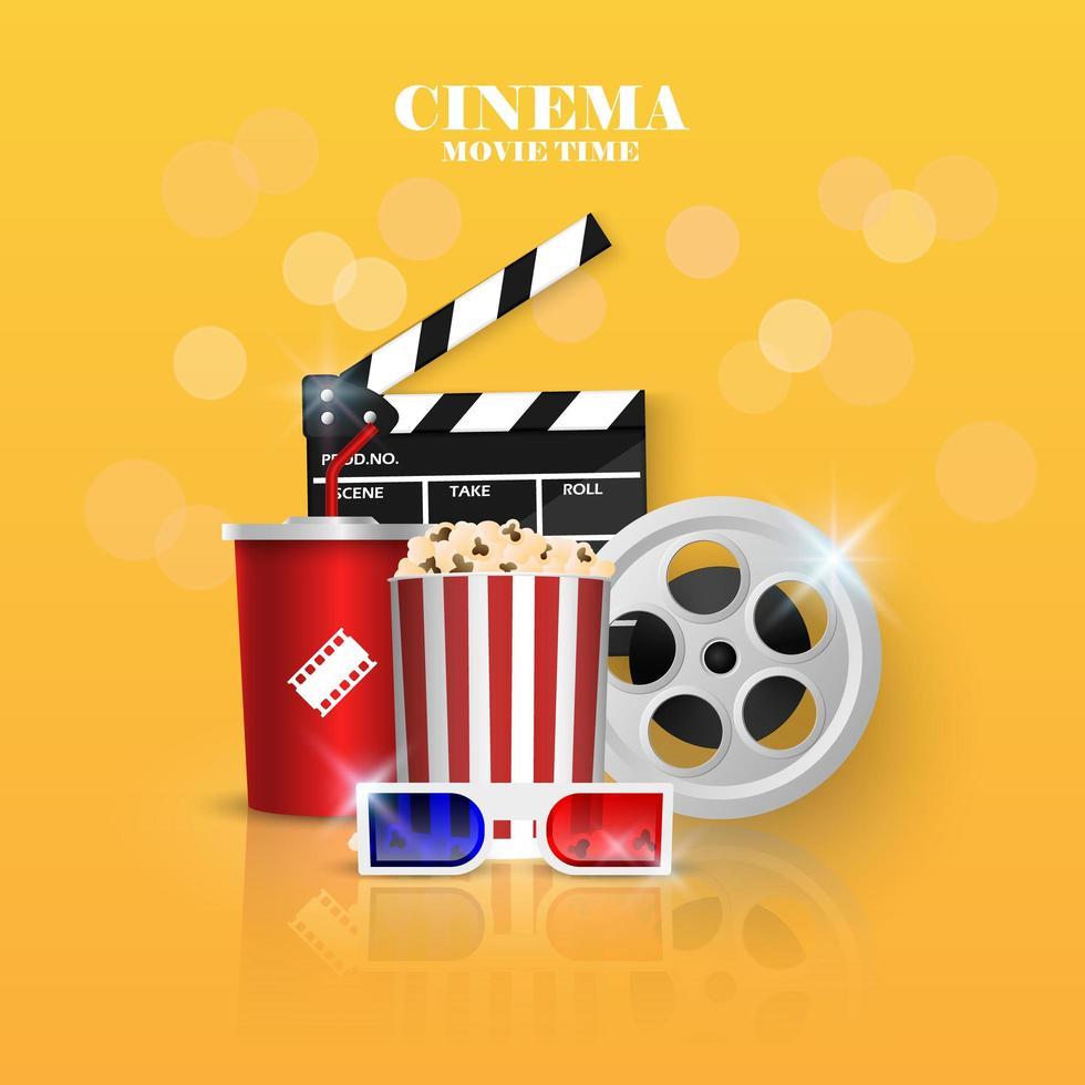 Objetos de cine sobre fondo amarillo vector