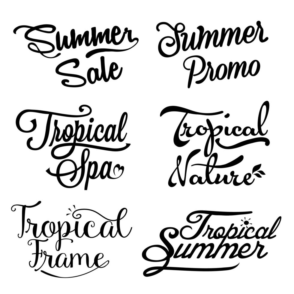 liquidação de verão e letras tropicais vetor