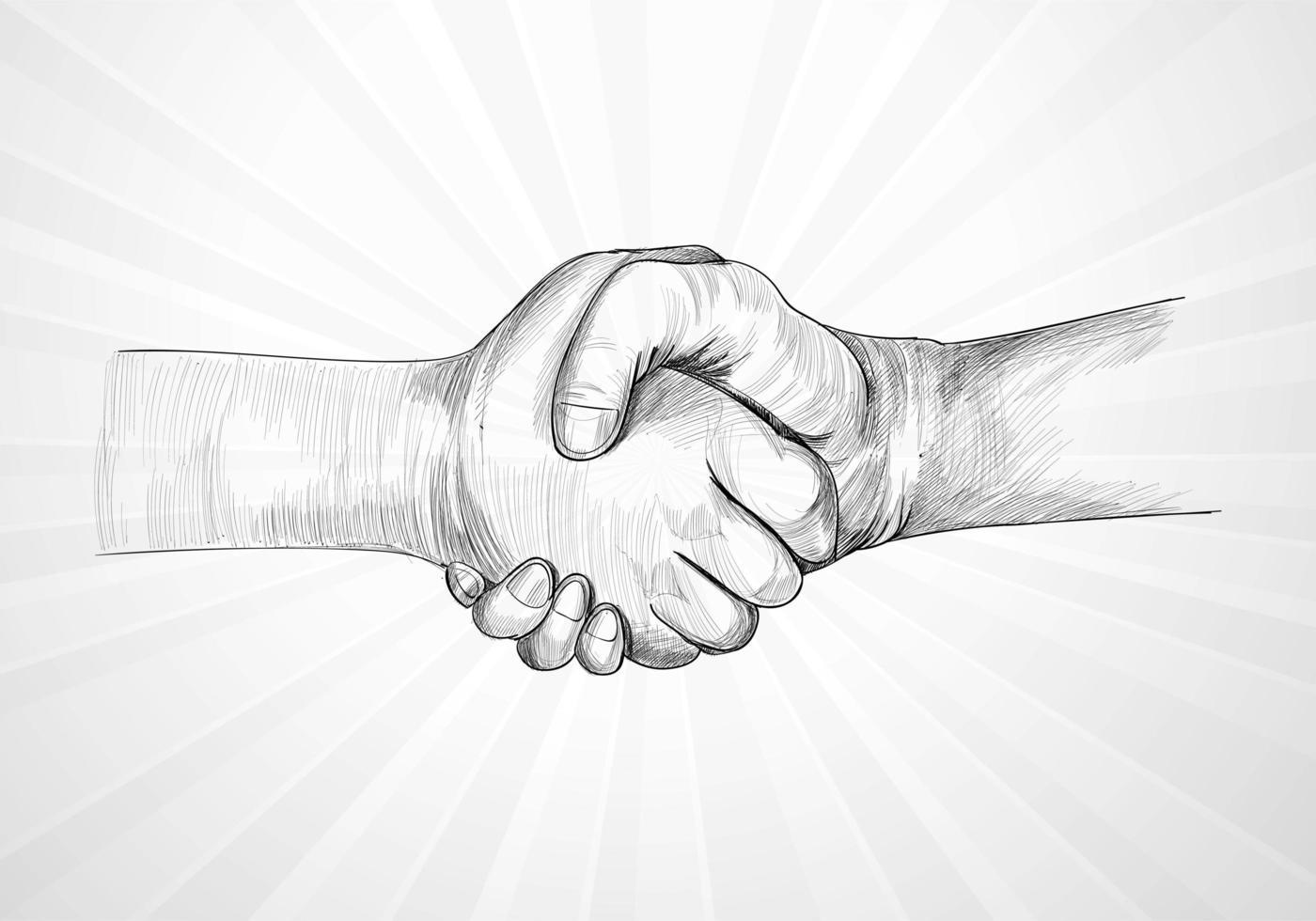 empresários fazendo aperto de mão desenho detalhado fundo da arte vetor