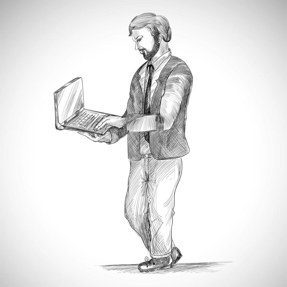 tecnologia criativa com homem esboçado vetor