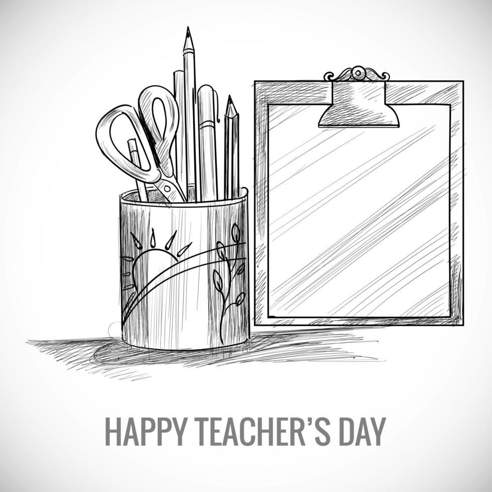 boceto del día mundial del maestro con lápices en taza y portapapeles vector