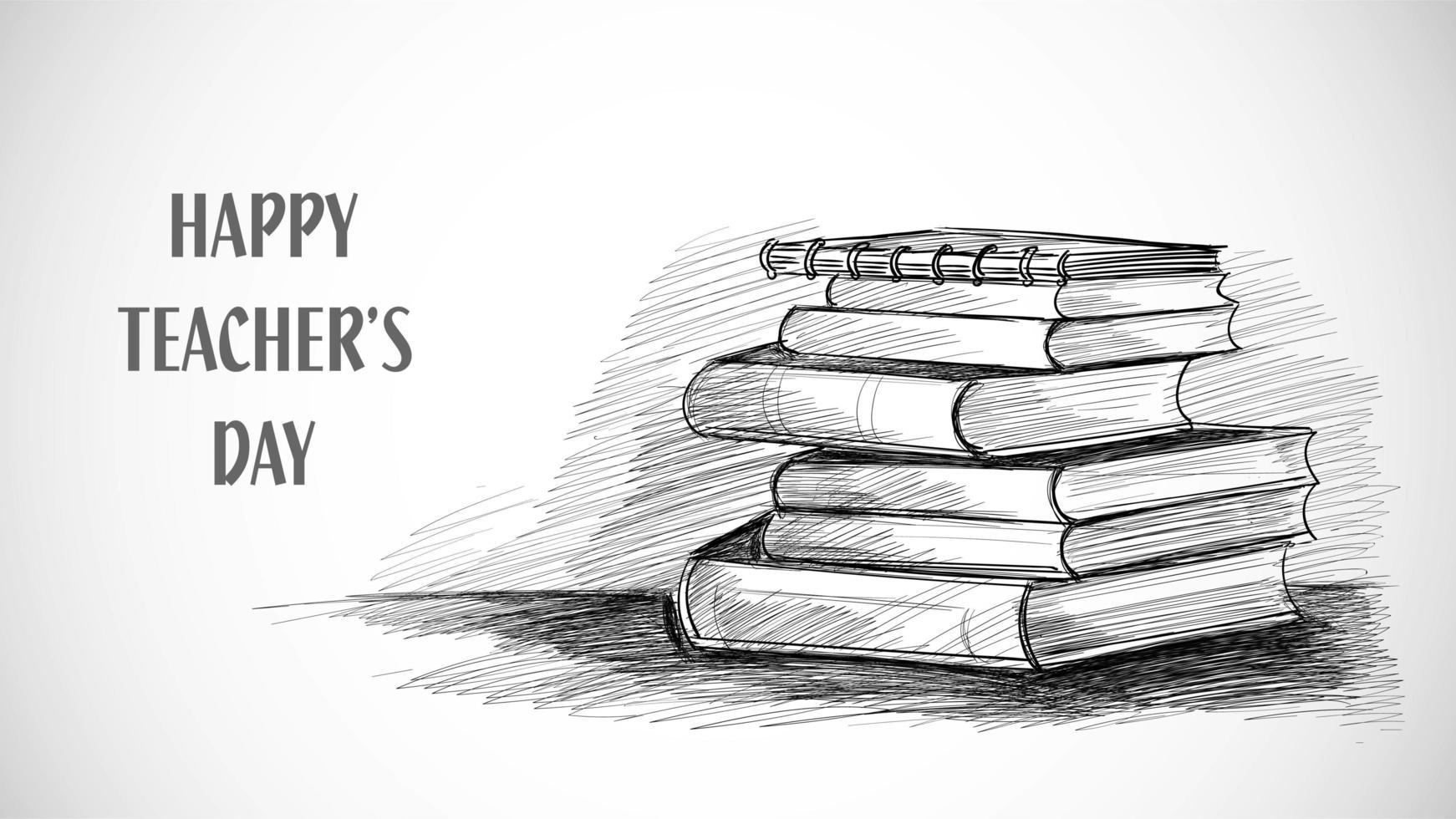 feliz dia dos professores caderno de desenho vetor