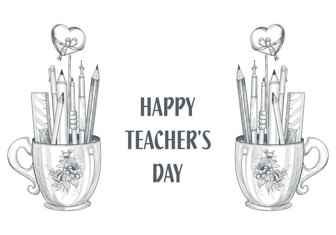 Celebremos el feliz día del maestro, taza y diseño de boceto vector
