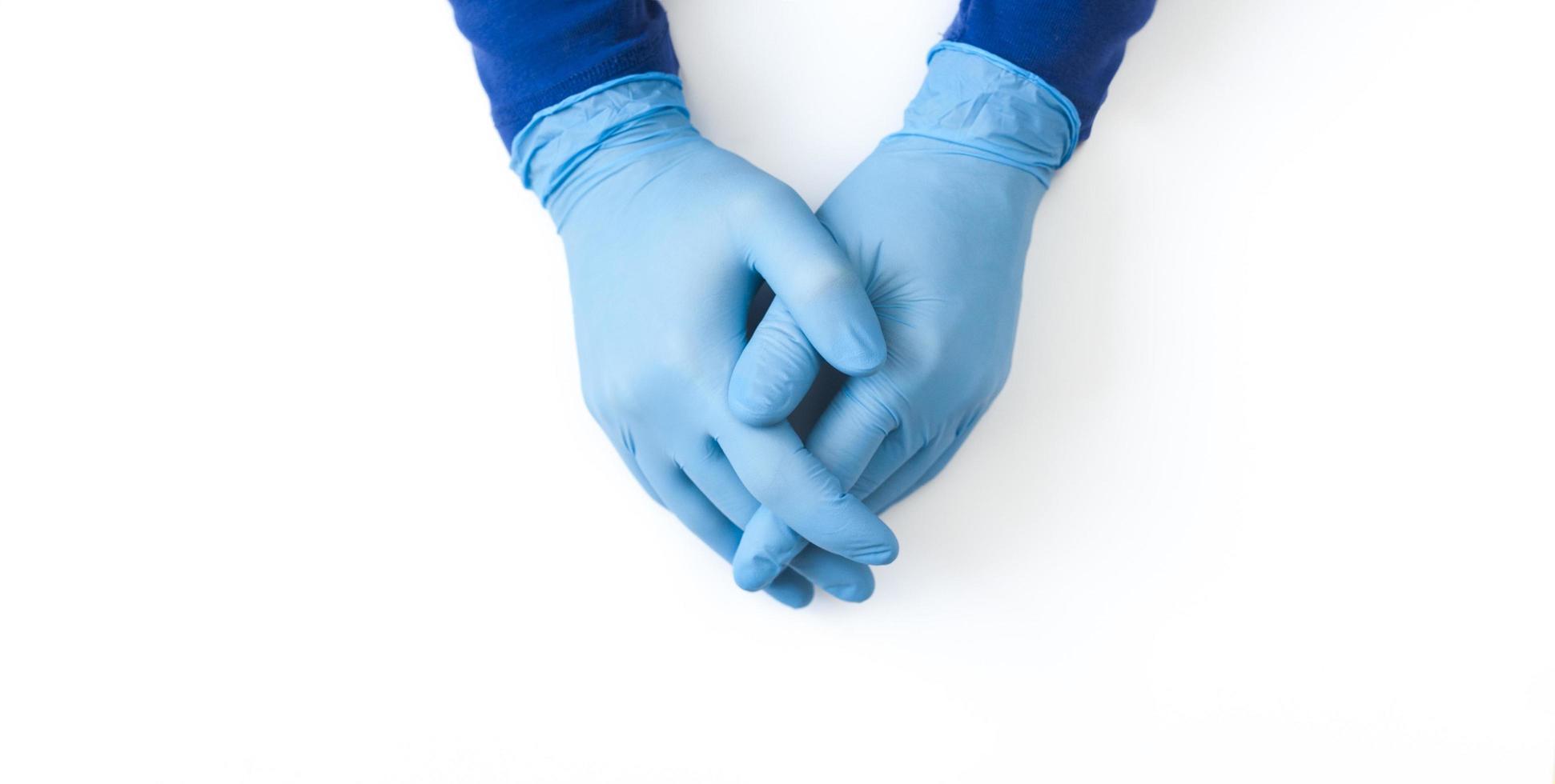 banner de guantes de nitrilo azul foto