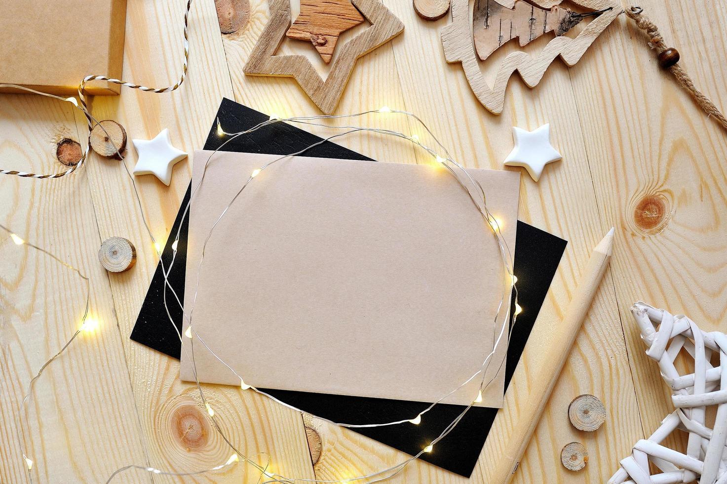 Christmas background kraft sheet of paper  photo