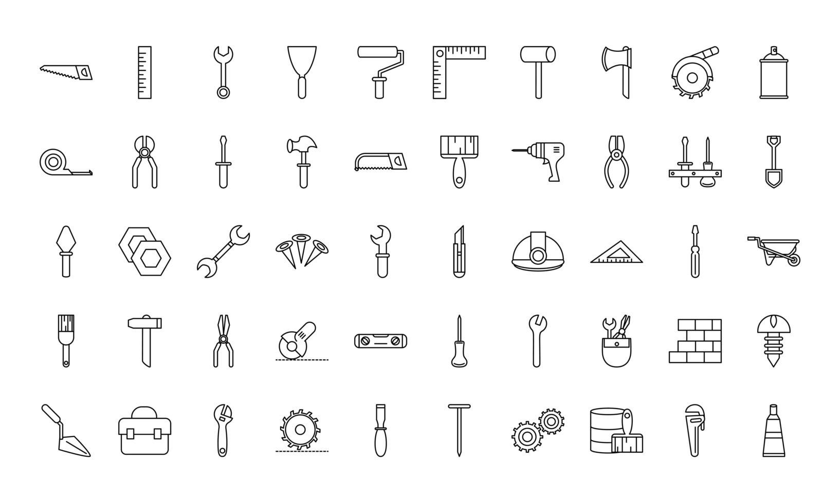 colección de iconos de reparación y construcción de herramientas vector