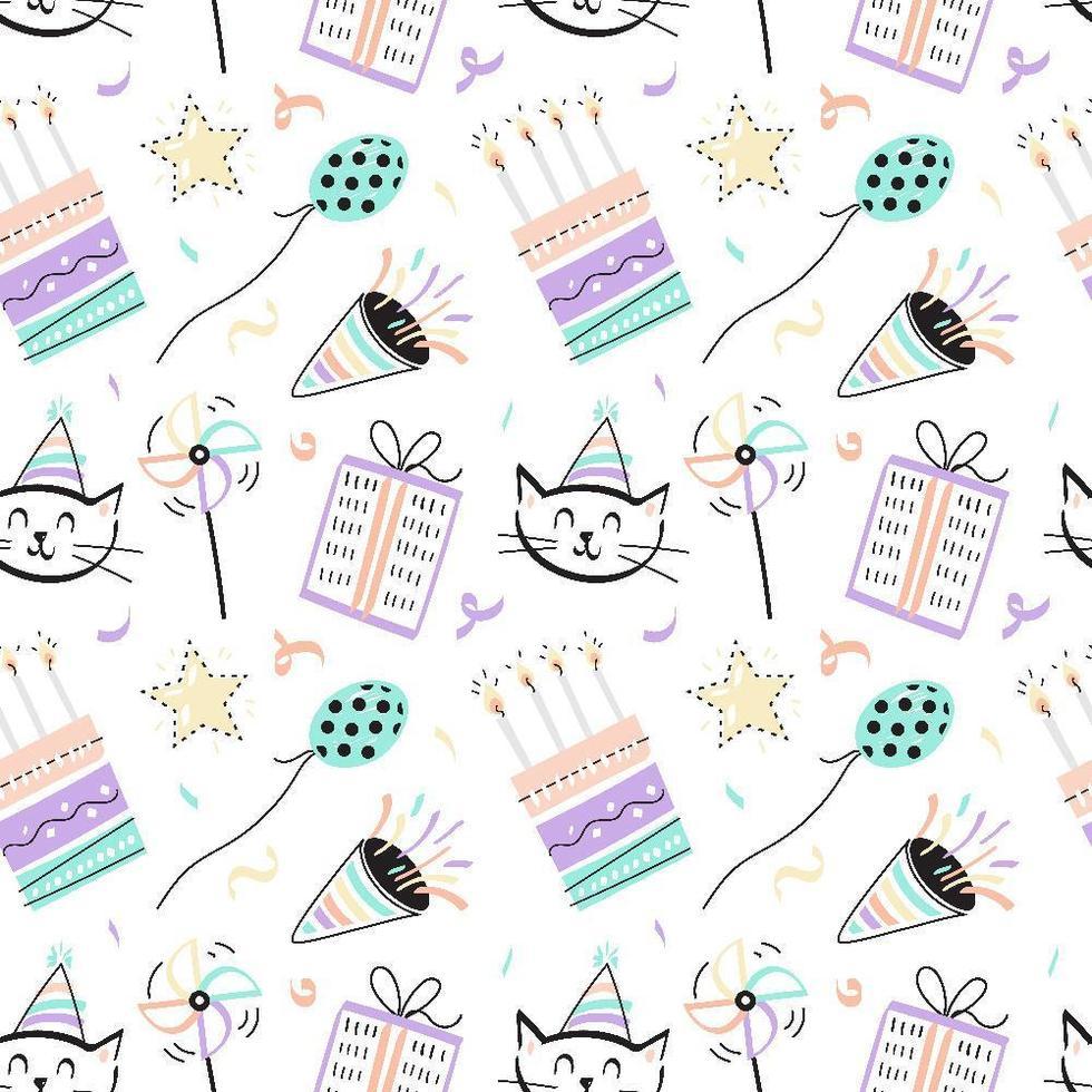 divertido, seamless, cumpleaños, patrón vector
