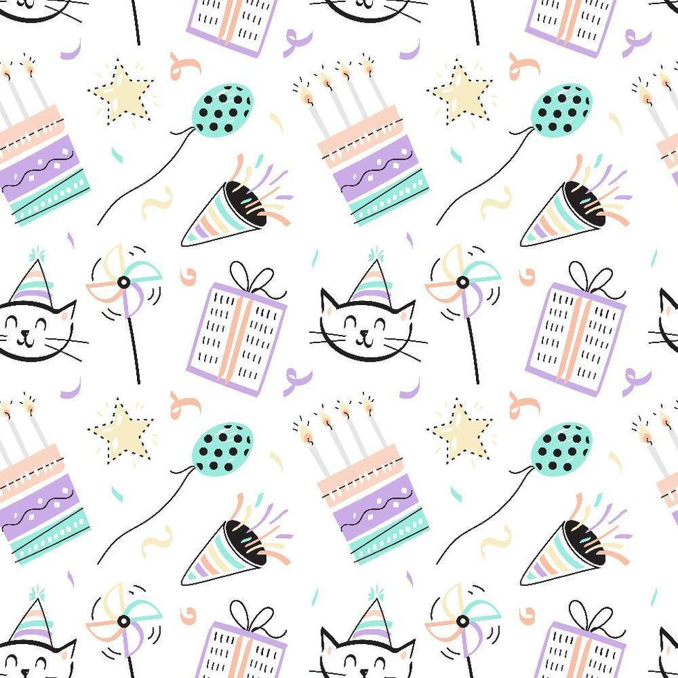 Fun Seamless Birthday Pattern vector