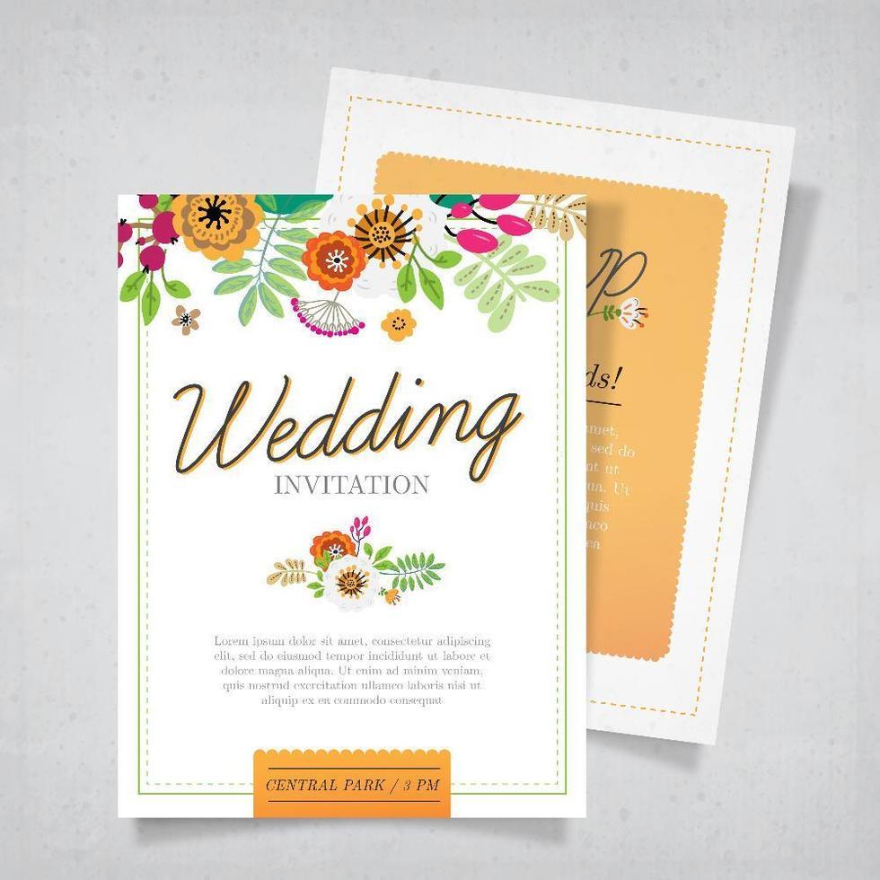 modelo de convite de casamento colorido vetor