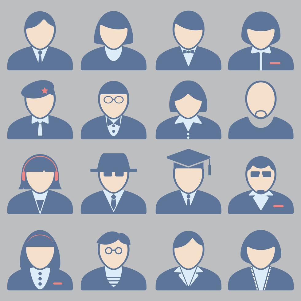 conjunto de iconos de avatar de personas de negocios vector