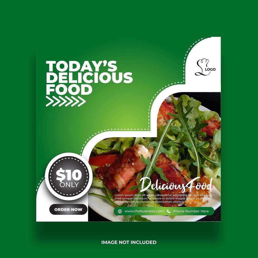 banner de comida de restaurante verde mínimo colorido para publicación en redes sociales vector