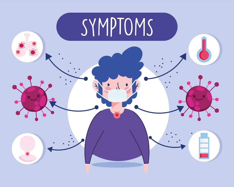 niño con infografía de síntomas virales vector