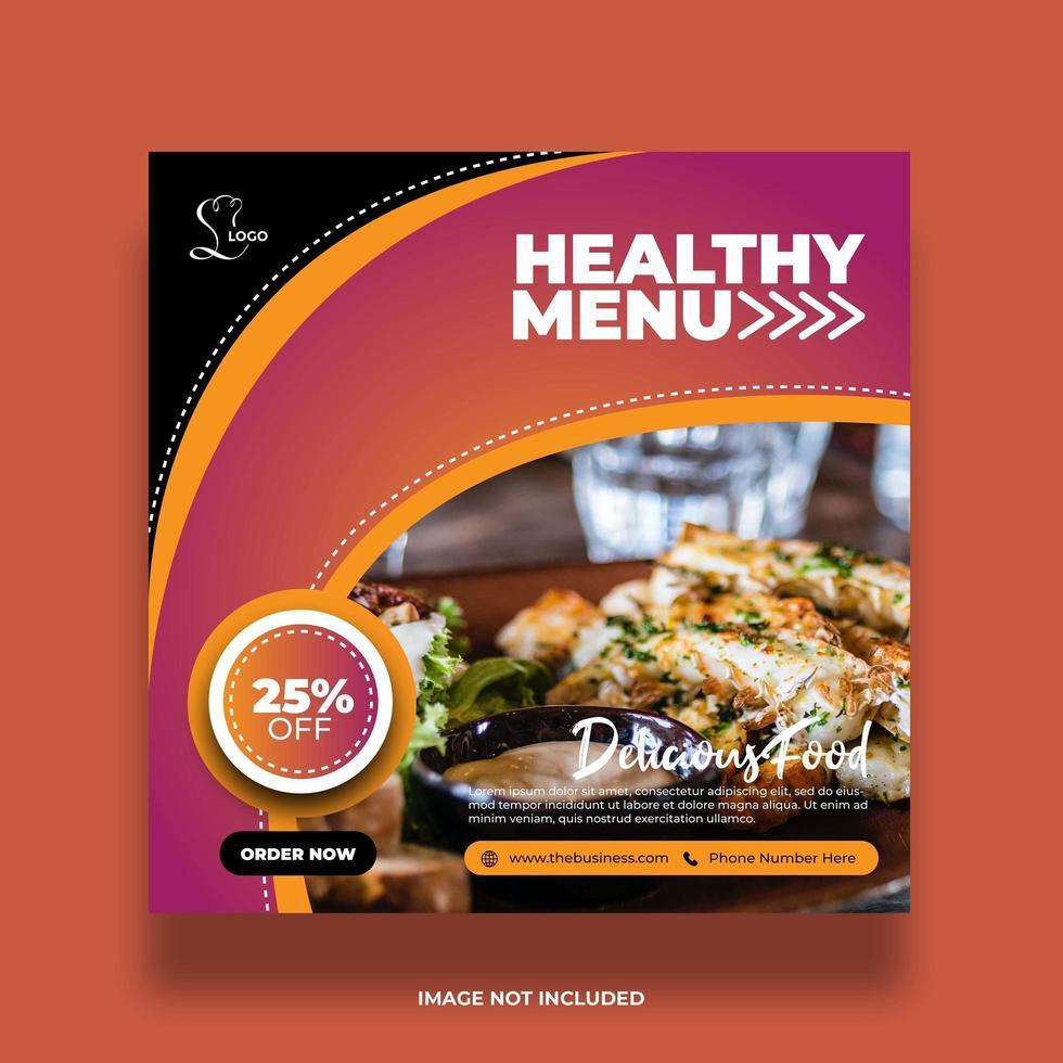 colorido banner de comida de restaurante con curvas para redes sociales vector