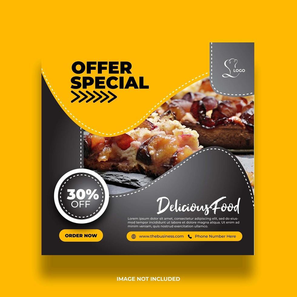 banner de comida especial de oferta mínima criativa para mídia social vetor