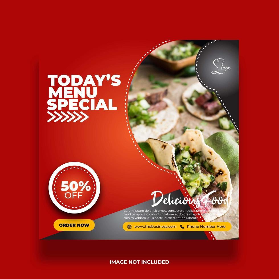 banner de mídia social criativa minimal red food vetor