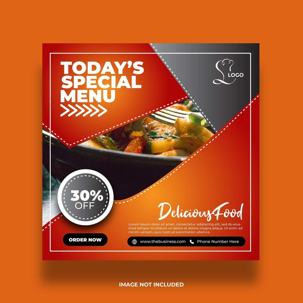 Two Colors Restaurant Food Banner For Social Media post vector