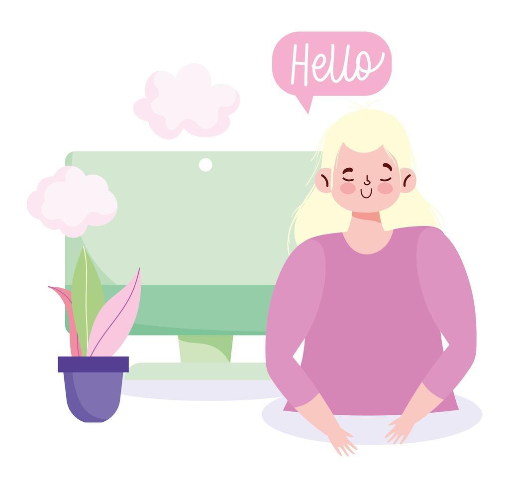 mujer joven con una computadora y un bocadillo de diálogo de saludo vector