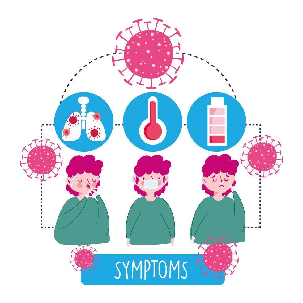 menino com ícones de infográfico de sintomas virais vetor
