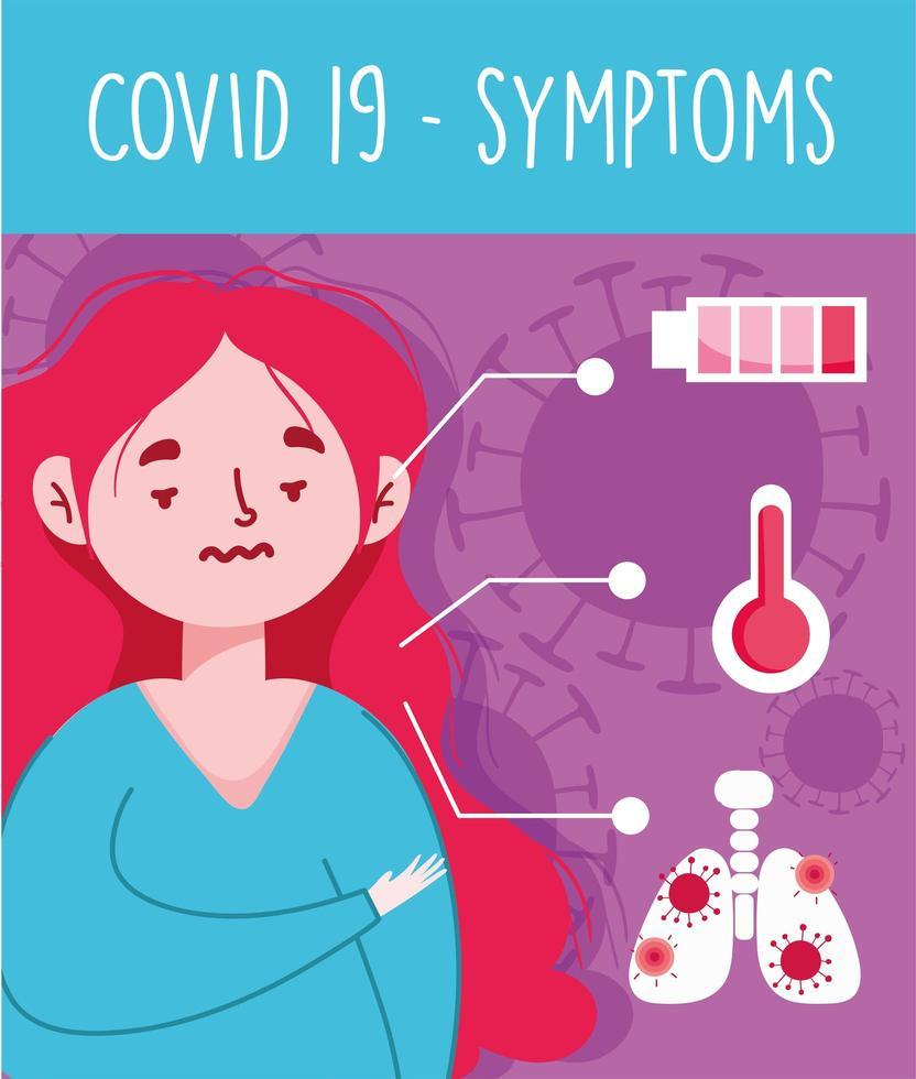 mujer joven enferma con fiebre y síntomas virales vector