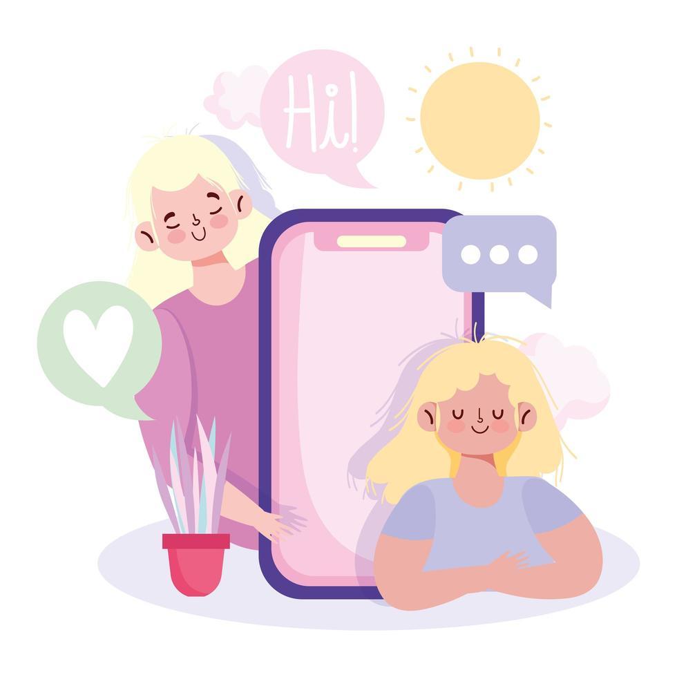 Girls communicating via smartphone  vector