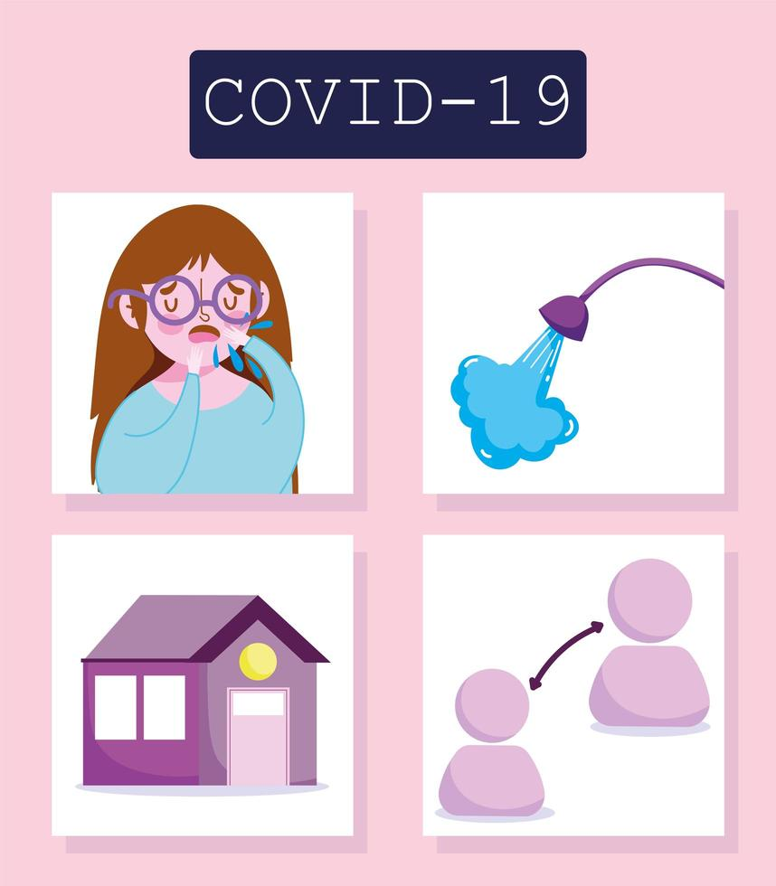 infográfico de coronavírus com conjunto de ícones de prevenção e menina vetor